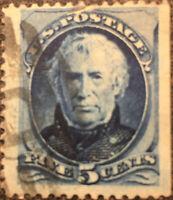 Vintage Scott #185 US 1879 Zachary Taylor 5 Cent Postage Stamp
