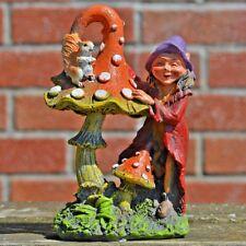 Garden Mushroom & Elf Small Outdoor Decor Novelty Sculpture Fairy Pixie 80271