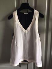Miu Miu Silk Black & White Sleeveless Blouse Vest Top Layered Prada size 38