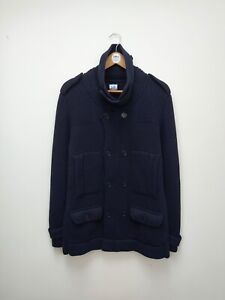Rare CP Company Double Breasted Navy Blue Wool Button Cardigan - SZ 56
