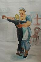 Kellner und Küchenmamsel beim Tanz, orig. Aquarell um 1920
