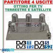 PARTITORE / DIVISORE 1 INGRESSO 4 USCITE PER TV - SAT - SCR CONNETTORI F 410052