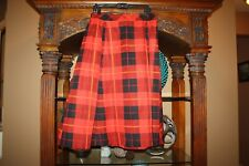 $368 Kate Spade Woodland Red Black Plaid Midi Skirt