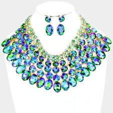SPECTACULAR Statement Gold Green Fire Crystal Big Necklace Set By Rocks Boutique
