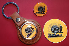 THE MAN FROM U.N.C.L.E. LEATHER KEY RING, GOLD PLATED BADGE &  STICKER