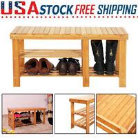 Bamboo Shoe Rack Bench Stool Seat Storage Shelf for Entryway Hallway Living Room