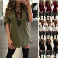 New Women V Neck Lace Up Loose Cocktail Evening Party Bandage Mini Dress T-Shirt