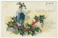 Vintage Postcard Christmas Vase with Holly Raphael Tuck Embossed