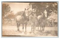 Barnyard, Farmer Man, Draft Horses  RPPC Real Photo Postcard Unposted
