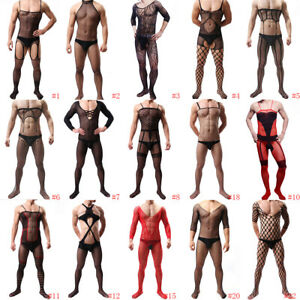 Men Sexy Mesh Sheer Body Stockings Pantyhose Bodysuit Underwear Jumpsuit Romper