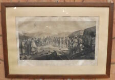 Litografia originale militare '800 Assedio di Gaeta batteria sul monte Lombone
