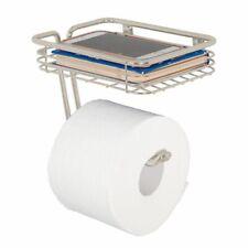 mDesign Metal Wall Mount Toilet Tissue Paper Holder/Storage Shelf - Satin