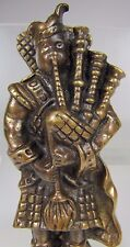 Vintage Figural Brass Bronze Scottish Bagpipe Player Door Knocker Arch Hardware