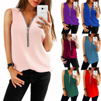 Women Sleeveless Zipper T-Shirt Tops Ladies V-Neck Loose Blouse Tank Tops Casual