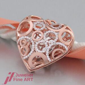 Herz - Anhänger - Medaillon - Zirkonia - 925 Sterling Silber rosé vergoldet