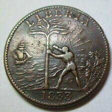1833 Liberia One Penny Token Token. Lowest Price. Scarce Item Ae-322