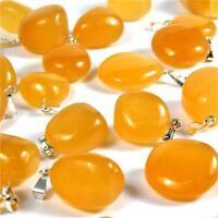 Orangencalcit Anhänger Trommelstein 30 mm silberne Öse Tropfen Top - Qualität