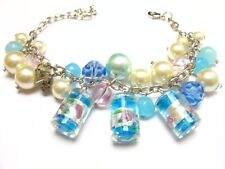 Faux Pearls Charm Bracelet Blue Floral Murano Glass