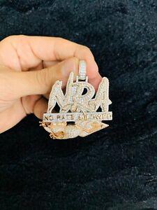 14k White Gold Finish NRA No Rats Allowed Simulated Diamond Pendant w/ Chain