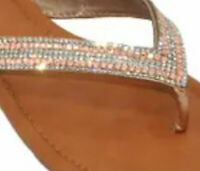 EVE WOMEN'S SANDALS Bling Studded Flip Flops Toe Thong New! Tan  2052 NWT
