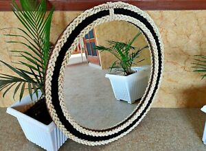 Round Black n White Coastal Decor Mirror Nautical themed designer rope mirror