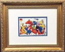 "DAVID SCHLUSS ""Happy Dancing"" NEWLY CUSTOM FRAMED Art Print ISRAELI Judaica"