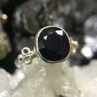 Roman Art Natural Genuine Blue Sapphire Handmade 925 Sterling Silver Ring
