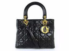 Auth Christian Dior Lady Dior Cannage 2Way Hand Bag Black Leather Good 39655
