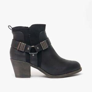 Rocket Dog SETTY Ladies Autumn Casual Modern Block Heel Ankle Boots Black