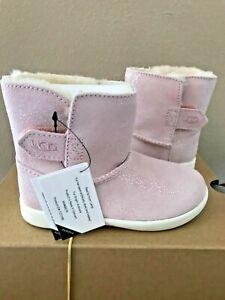 NIB UGG Keelan Suede Sparkle Infant Toddler Boots Pink Sparkle size 8