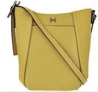 H By Halston Pebble Leather Crossbody Bucket Handbag Yello