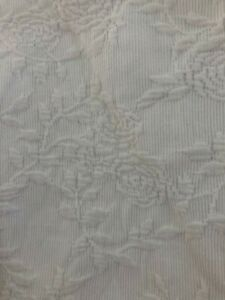 RARE  Pair Drape Panels SIMPLY SHABBY CHIC WHITE Ivory EMBROIDERED   52 X 80