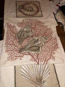 Set 3 Pottery Barn Sea Shell Cushion Covers