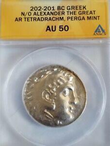 Macedon Alexander The Great Tetradrachm Perga Mint ANACS AU50 Ancient Silver...