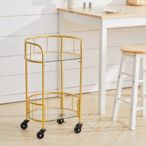 2 Tier Drinks Wine Trolley Glass Shelf Storage Rack Kitchen Serving Cart Gold UK