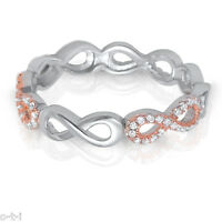 Rose Gold and Silver Infinity Ring - Simulated Diamond Genuine Sterling Silver
