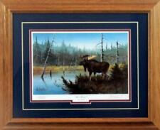 "Moose Hangout  By Les Kouba Signed Artists Proof Framed Art Print  21"" x 17"""