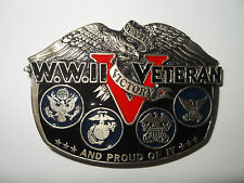 WW II VETERAN BELT BUCKLE by THE GREAT AM. BUCKLE CO. USA ACRYLIC FILL