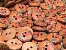 10 Pastel Hearts: Pink, Mauve, Green, Orange, Blue Wooden Buttons: 15 mm