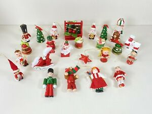 Collection Of 25 Wooden Christmas Tree Hanging Decorations