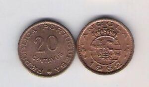 Angola 20 centavos 1962 Shield Portuguese Africa Colony aUNC