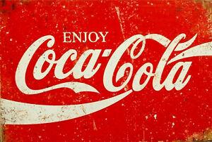 COCA COLA Rustic Metal Tin Sign. Vintage Retro  Garage, & Man Cave Pub Plaque