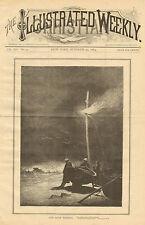 Fishermen, Lost Boat, Signal Light, Vintage, 1884 Original, Antique, Art, Print,