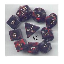 RPG Dice 10pc - Oblivion Red - 1 @ D4 D8 D10 D12 D20 D00-10 & 4 D6