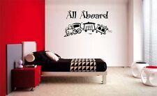 ALL ABOARD TRAIN VINYL WALL  QUOTE LETTERING DECAL HOME DECOR  ART