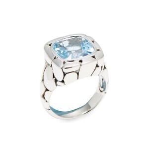 JOHN HARDY Batu Kali Blue Topaz Sterling Silver Ring Size 7