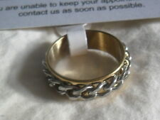 Unisex Curb Chain Stress Relief band Ring 7mm wide silver / gold 316l ss UK N