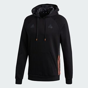 Adidas Men's TAN Tech Sweat Neon-accented 3-Stripes Pullover Hoodie FQ2113
