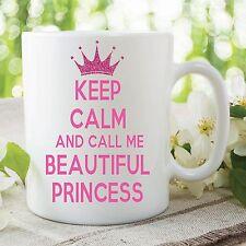 Keep Calm Schöne Prinzessin pink Text Becher Tee Kaffeetasse Arbeit Geschenk