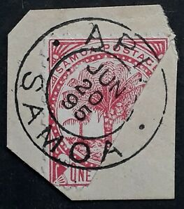 1895 Samoa 1d carmine Palms stamp bisected Used on Piece